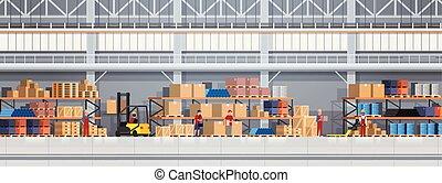 箱, 概念, サービス, 働いている人達, forklift., 出産, ロジスティックである, 倉庫, 横, 旗, 持ち上がること