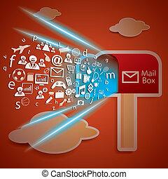 箱, 概念, ネットワーク, 結合性, ベクトル, メール