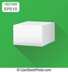 箱, 概念, ビジネス, mockup, イラスト, パッケージ, 長い間, ベクトル, 緑, pictogram., 背景, ブランク, 白, カートン, shadow., icon., 3d