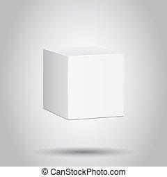 箱, 概念, ビジネス, mockup, パッケージ, 隔離された, イラスト, バックグラウンド。, ベクトル, pictogram., ブランク, 白, カートン, icon., 3d
