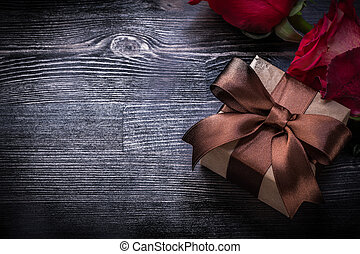 箱, 概念, 拡大された, ホリデー, ばら, 木, プレゼント, パックされた, 板