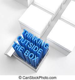 箱, 概念, 考え, テキスト, 突き出なさい, 外, 開いた, 3d