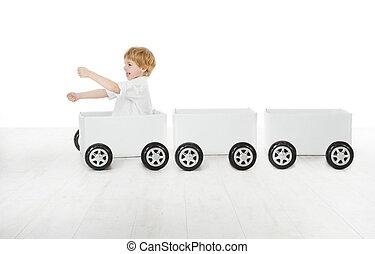 箱, 概念, 運転, 自動車, 出荷, 出産, wagons., 子供, 空