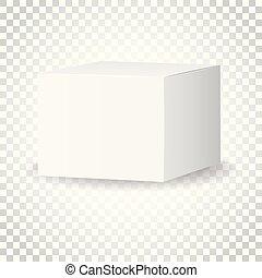 箱, 概念, illustration., ビジネス, パッケージ, 単純である, mockup, 隔離された, バックグラウンド。, ベクトル, ブランク, 3d, 白, カートン, icon., pictogram