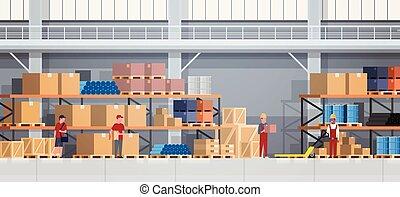 箱, 概念, working., サービス, 人々, 出産, 倉庫, ロジスティックである, 内部, 棚