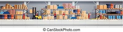 箱, 概念, working., サービス, 人々, 出産, 倉庫, ロジスティックである, 内部, 横, 旗, 棚