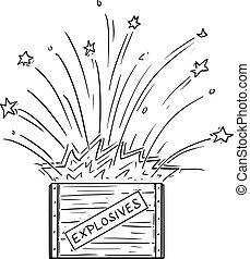 箱, 漫画, 爆薬, ベクトル, 爆発する