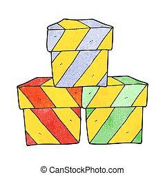 箱, 漫画, 贈り物, textured