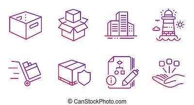 箱, 灯台, オフィス, algorithm, アイコン, set., 建物, カート, 出産, ベクトル, 押し, 保険, signs.