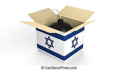 箱, 爆弾, イスラエル, 隔離された, バックグラウンド。, 旗, 白