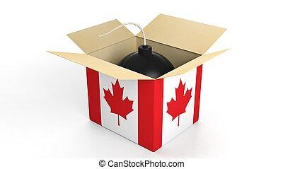 箱, 爆弾, 隔離された, バックグラウンド。, 旗, カナダ, 白