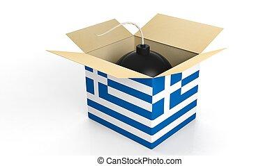 箱, 爆弾, 隔離された, バックグラウンド。, 旗, ギリシャ, 白