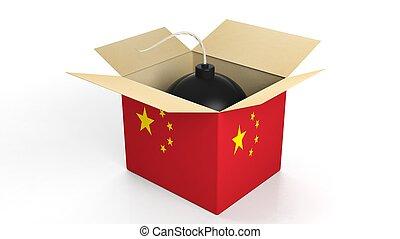 箱, 爆弾, 隔離された, バックグラウンド。, 旗, 陶磁器, 白