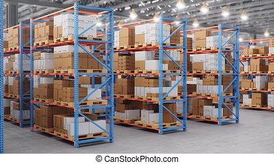 箱, 現代, center., 巨大, 満たされた, warehouse., 4k, shelves., seamless, loop-able, 大きい, ボール紙, ラック, ロジスティックである, 倉庫, 中, パレット, アニメーション, 3d