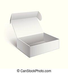 箱, 現実的, パッケージ, 白, ボール紙