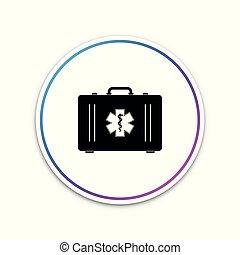 箱, 生活, 星, 緊急事態, シンボル, -, 隔離された, イラスト, button., バックグラウンド。, ベクトル, 援助, 白, 最初に, 医学, 円, アイコン