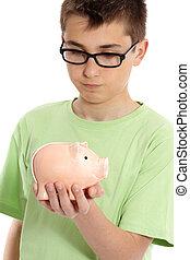 箱, 男の子, お金, 小豚, 保有物, 銀行