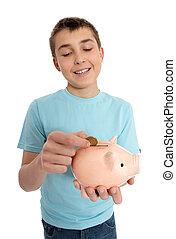 箱, 男の子, 落ちる, コイン, お金