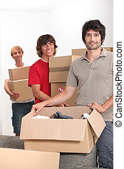 箱, 男性, 引っ越し, 若い