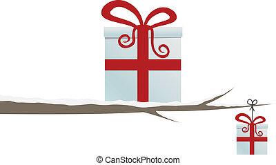 箱, 白, 隔離された, 贈り物, ブランチ