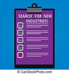 箱, 研究する, industries., 縦, ビジネス, モデル, 写真, 提示, 捜索しなさい, 新しい, 点検, 他, showcasing, クリップボード, space., 手, ブランク, 概念, 執筆, コピー, ファインド