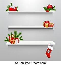 箱, 空, クリスマスの ギフト, 棚
