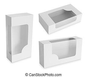 箱, 窓, ボール紙, 透明, プラスチック