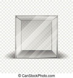箱, 立方体, きれいにしなさい, ショーケース, 隔離された, ガラス, checkered, 背景, 空