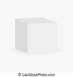 箱, 立方体, の上, mock