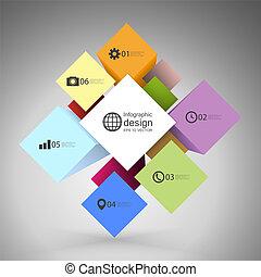 箱, 立方体, ビジネス, 現代, infographic, ベクトル, テンプレート, 概念