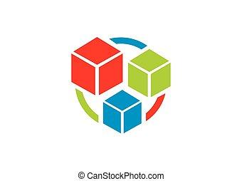 箱, 立方体, 幾何学, オブジェクト, 色, ベクトル, ロゴ