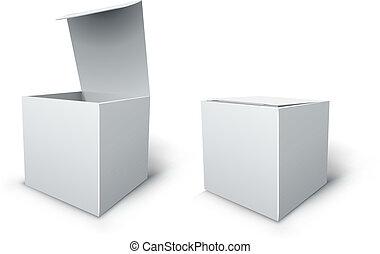 箱, 立方体, 隔離された, ベクトル, ブランク, 白, template.