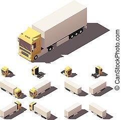 箱, 等大, セット, セミトレーラー, ベクトル, トラック, アイコン
