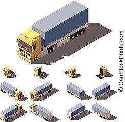 箱, 等大, セット, セミトレーラー, 傾き, ベクトル, トラック, アイコン