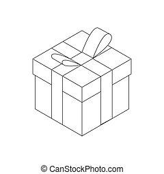 箱, 等大, 贈り物, スタイル, アイコン, 3d