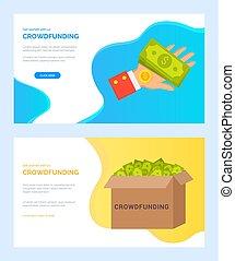 箱, 網, crowdfunding, お金, 手, カートン