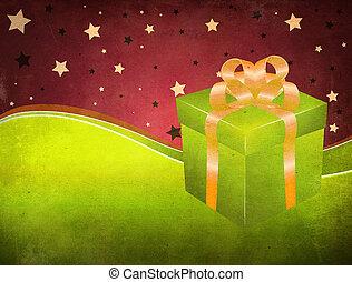 箱, 緑, グランジ, 背景, 贈り物