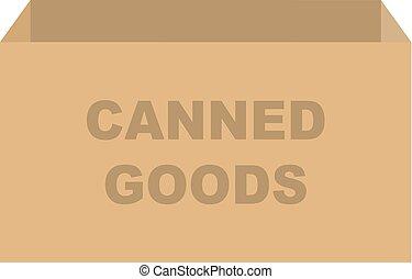箱, 缶詰にされる, 寄付, 商品, ベクトル