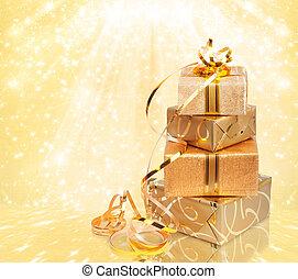 箱, 美しい, 贈り物, 金, 抽象的, 包装紙, 背景