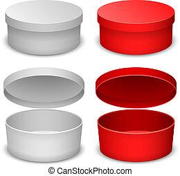 箱, 背景, variant., 隔離された, ベクトル, テンプレート, 白, ラウンド, 赤