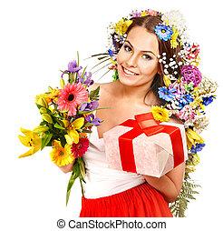 箱, 花束, 女, 花, 贈り物