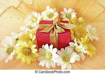 箱, 花, 概念, クリスマスの ギフト