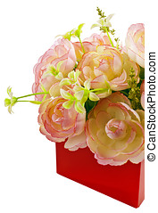 箱, 花, 生地, 贈り物, 赤