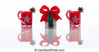 箱, 茎, クリスマスの ギフト, 旗, 雪片, アニス, 隔離された, 蝋燭, 砂糖, ホールダー, 水晶, 背景, 星, 反射, ろうそく, 白, perspex, クリスマス, 赤
