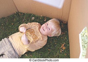 箱, 草, 卵を生む, 若い, 間, 子供, ボール紙, 遊び, 城砦