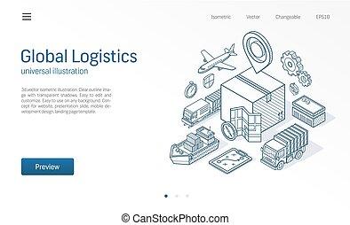 箱, 貨物, 等大, 世界的である, illustration., サービス, concept., 現代, スケッチ, icons., ビジネス, 出産, 分配, 輸入, ロジスティックである, 倉庫, 引かれる, 線, エクスポート, 輸送, 貯蔵
