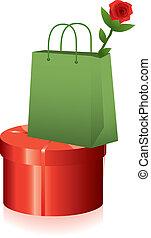 箱, 買い物, 贈り物, バラ, 袋, ベクトル, 赤