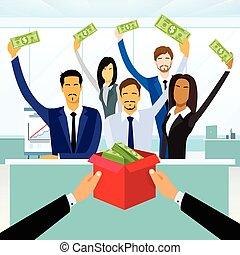 箱, 資金, ビジネス, 群集, 人々, お金, 寄付, 置かれた, グループ