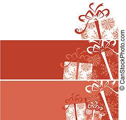 箱, 贈り物, あなたの, デザイン, 旗, クリスマス