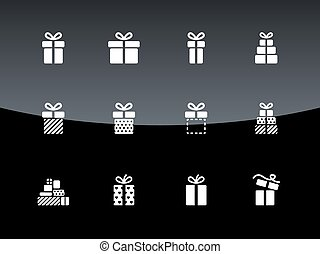 箱, 贈り物, アイコン, バックグラウンド。, 黒, クリスマス